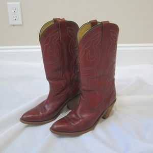 Frye 8 Western Pull On Cowboy Boots Red Spring